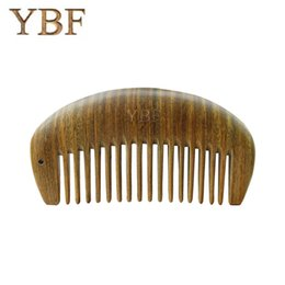 Wholesale Brush Hairdresser - YBF Green Sandalwood Combs Antique Wooden Hairbrush Hairdresser MINI Wide Tooth Brushes Princess Carry It With Travel Bag Pocket