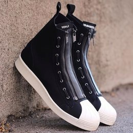 Wholesale Boot Lace Zippers - Top brand Y-3 Boots double zipper hightop shell toe shoes men sneakers black comfortable fabrice y3 shoes Y3 PRO ZIP 36-44EU