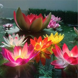 Wholesale Lotus Water Lanterns - 20 CM Artificial Lotus Flower Wishing Lamp Silk Lanterns Floating Water Candle Light For Wedding Christmas Party Decoration