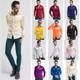 Wholesale Silk Mens Long Shirt - The new season in Europe and the United States men's cardigan high-grade imitation silk Mens long sleeved shirt fashion shirt