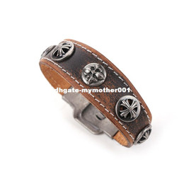 Wholesale Couple Bracelet Male Female - Minimalist Retro Fashion Jewelry Male And Female Couple Brown Leather Bracelet Wristband Punk Cuff Wide Bracelets & Bangles