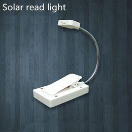 Wholesale Books Mini Lights - Mini Solar Power LED Book Light Clip On Flexible Adjustable 3 Led Sunshine Powered Solar Book Clip Light Rechargeable Solar Light YK-S60