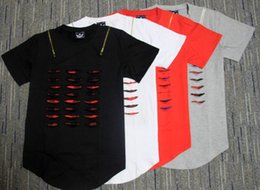 Wholesale Shorts Destroy - New men plain destroy broken t-shirt fashion street wear hiphop