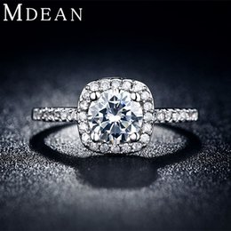Wholesale Platinum Clusters - MDEAN Wedding rings for women platinum plated jewelry luxury rings Engagement square bague AAA zirconia Accessories bijouxMSR035