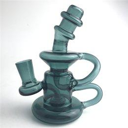 Vidro colorido Pequeno Klein Rigs com 14mm Feminino Verde Grosso Reciclador Heady Copo de Vidro Plataforma de Petróleo para Tubulações de Fumo de Água cheap little glass de Fornecedores de pequeno copo