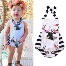 Wholesale Floral Bodysuit - baby girls clothes Newborn Infant Floral Deer Romper Roupas Jumpsuit Toddlers boutique clothing Outfits Ruffled Pajamas Handmade Bodysuit