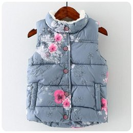 Wholesale Baby Geese - Baby Girls Floral Print Waistcoat 2017 Winter Kids Girls Graffiti Vests Coat Kids Girl Warm Jacket Children Outerwear Clothing S421