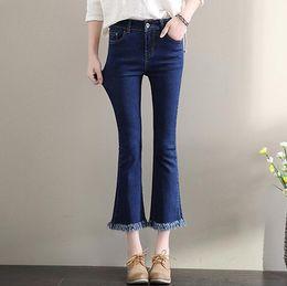 Wholesale High Flash Point - Best gift The new black high waist female nine points flash tassel stretch thin denim bellows pants JW055 Women's Jeans