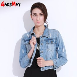 Wholesale Womens Short Denim Jackets - Womens Ripped Denim Jackets Long Sleeve Jeans Basic Jacket Women Short Hole Tops Female Coats Denim Clothing Women GAREMAY 9001