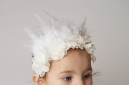 Wholesale Girls Hair Feather White - Girls flowers feather headband fashion new children chiffon flowers headband Girls ballet dance hair accessories Kids Hair Accessories A0653