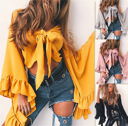 Wholesale Pink Ruffle Blouse Top - Women Ruffles Blouse Ladies Sexy Blouses Yellow Deep V Neck Oversized Petal Sleeve Top Blouse Elegant Tops Formal Clothing pink DY170731