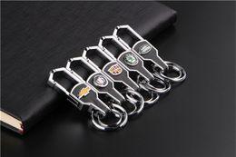 Wholesale Kia Keyring - Fashion Car Logo Metal Alloy Leather Keychain keyring Key Holder Ring For KIA VW Toyota Rand Rover