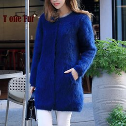 Wholesale Factory Breasts - Wholesale- 100% Genuine Mink Cashmere Coat Real Mink Cashmere Cardigans Nature Pure Mink Fur Sweaters Factory Customize Wholesale KFP910