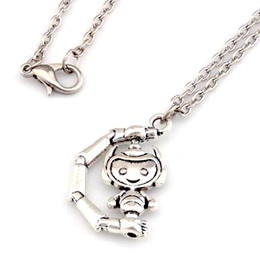 Wholesale party robots - MIC 20pcs New Europe and America Antique Silver ZInc Alloy Robot Charm Pendant Necklace