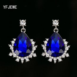 Wholesale Jewelry Dangle Pendant - Fashion women Multi-color crystal vintage retro silver plated romantic pendants ladies accessories jewelry earrings for party gift #E298