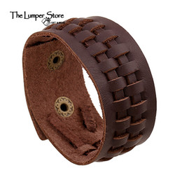 Wholesale Hand Made Bracelets For Men - Wholesale- The original punk fine jewelry the retro genuine leather weaving charming bracelet for man and women personalized hand made