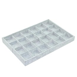 Wholesale Jewelry Display Gray Velvet - Argositment jewelry display tray 24 girds gray velvet empty organizer tray fashion Jewelry Display Show Case size: 35*24*3.5cm