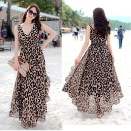 Vestido de verão mulheres casuais dress maxi chiffon vestidos de praia longa plus size XL leopardo mangas plissado vestido de mulheres vestides supplier plus size beach dress s de Fornecedores de mais tamanho vestido de praia s