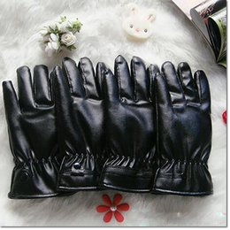 Wholesale Wholesalers Leather Work Gloves - warm five fingers Gloves Touch Screen Washable Leather PU Gloves for Cold Weather Mechanics Work For iPhone Samsung Universal Smartphones