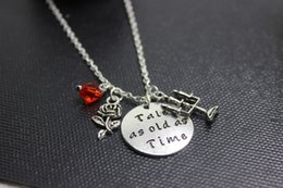Wholesale Unisex Charm Necklace - 12pcs lot silver Beauty and the Beast inspired Necklace-Tale as old as time necklace Beauty and Beast Charm Necklace Fairytale
