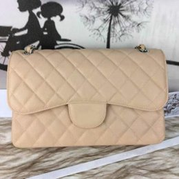 Wholesale Hw Fashion - Fab Price Large Classial 30CM Maxi Jumbo Quilted Chain Apricot   Beige Caviar Leather Double Flaps Fashion Shoulder Bag Gold   Silver Hw
