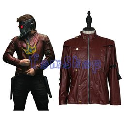 Wholesale Xxs Leather - Guardians of the Galaxy Star Lord Peter Quill Cosplay PU Leather Jacket Men's Halloween Costumes