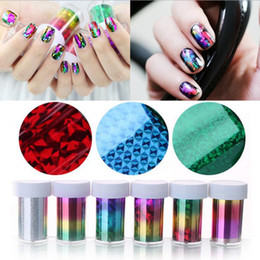 Wholesale Nail Sticker Foils - 3cmx100cm Fashion Nail Art Transfer Foil Sticker 3D Nail Polish Wrap Nail Tip Decoration Accessories 55 Colors