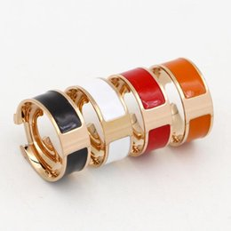 Wholesale 18k Enamel Ring - Famous brand H love ring enamel ring paint drops 18k rose gold titanium steel ring female fashion jewelry for women and men