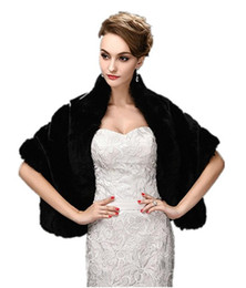 Wholesale Wedding Capes Shawls - Black Faux Fur Wrap Cape Stole Shawl Shrug for Wedding Party Show Shoulder width 38cm - 40cm. Soft,Smooth and Warm-Keeping