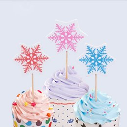 Wholesale Cake Topper Shipping - Wholesale- 12Pcs Lot Snowflake Cupcake Topper Picks,Birthday Wedding Happy Birthday Supplies Decoration Cake Toppers Free Shipping