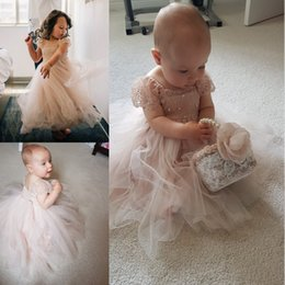 Wholesale Silk Flowers For Wedding Ivory - Blush Toddler Flower Girl Dress French Lace and Silk Tulle Dress For Baby Girl Blush Princess Dress Custom Holy Communion Dresses 2017