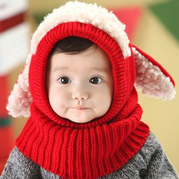 Wholesale Knitted Scarves For Infants - Wholesale- Winter Baby Hat and Scarf Joint With Dog Style Crochet Knitted Caps for Infant Boys Girls Children New Fashion Kids Neck Warmer