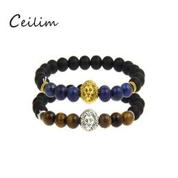 Wholesale Tiger Charm Chain Gold - Wholesale 2017 fashion tiger-eye 8mm bead bracelets with vintage lion head charm black matte beads bracelets for men free shipping