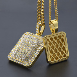 Wholesale Men Necklace Military - Hip Hop Men's Rhinestone square pendant necklace Gold Filled blingbling Military license Charm cuban Chain For Man Hip-Hop Jewelry