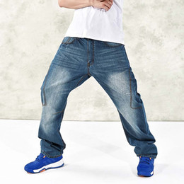 Wholesale Skinny Leg Patterned Pants - Wholesale- American Style Mens Jeans Wide Leg Casual Hip Hop Harem Denim Pants Skateboard Loose Trousers Big Size 30-46