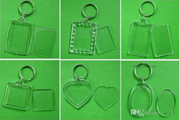 Wholesale Heart Keyrings - Free Shipping 1800pcs Blank Acrylic Rectangle Keychains Insert Photo Keyrings (Key ring chain)