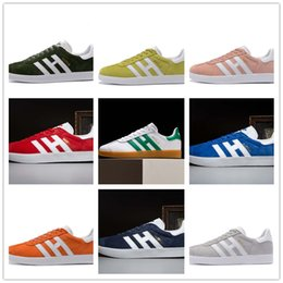 Wholesale Striped Cotton - Top Quaity 2017 Men Women Casual Spring Summer Autumn Suede Gazelle Racer Black Red Grey Orange Lightweght Breathable Walking Shoes 36-44