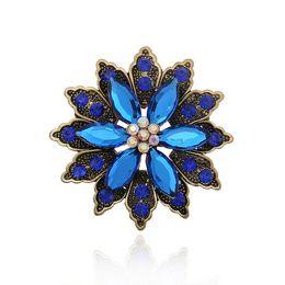 Wholesale Gem Crystal Brooch - Wholesale- Fashion Women Korean Flower Gem Stone Blue Crystal Wedding Bouquet Brooch Rhinestone Women Brooches Pins 2015 New Luxury Broooch