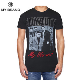 Wholesale Black Family Letters - MY BRAND LOYALTY FAMILY Men T-shirt Short Sleeves Letter and Gangster Face Graphic Cotton Prints Tshirt Round Neck Slim Fittings Tee For Man