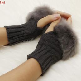Wholesale Acrylic Keyboard - Pretty Warmer Winter Gloves Women Arm Crochet Knitting Faux Rabbit Fur Keyboard Gloves Mitten Handwear Wrist Fingerless Gloves Colors 8226