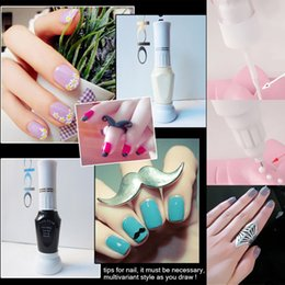 Wholesale Paints Suppliers - Wholesale-nail art supplier 2 in 1 3D tips nail polish pen brush for design dual purpose paint drawing point pin for painting