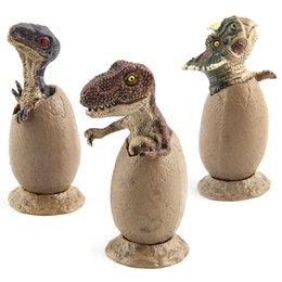 Wholesale grow eggs - New Children's Funny Toy Opp Dinosaur Egg Growing Pet Hand Model Half Hatched With Base 3PCS