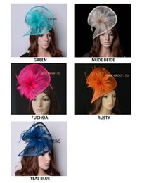 Wholesale Fascinator Accessories - New colors,HOT sinamay fascinator hat in SPECIAL shape w  feathers for hair accessory racesurch wedding party Kentucky derby