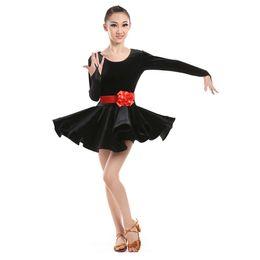 Wholesale Ballroom Dance Costumes For Kids - Fashion Ballroom Dancing Dress for Kids Girls Latin Dance Dress Flannelette Dancewear Elegant Performance Costume UD0106