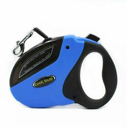 Wholesale Retractable Led - Free Shipping 2018 Small Medium Pet Dog Automatic Retractable dog leash lead Collar Harness 15kg 20kg 50kg six color Nylon 5M 3M