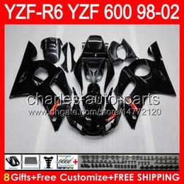 Glossy black 8gifts Para YAMAHA YZFR6 98 99 00 01 02 YZF600 82HM1 YZF-R6 YZF 600 R 6 YZF R6 1998 1999 2000 2001 2002 Kit de carenado Brillante negro desde fabricantes