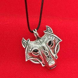 Wholesale wolf pendant necklace women - 2016 Norse Vikings viking Wolf Head Pendant neckalces for men women ancient silver animal necklace hip hop jewelry drop ship 161586