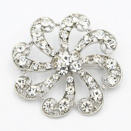 Wholesale Wedding Bouquet Bling - Bling Bling Clear Austria Crystal Fantastic Flower Brooch For Wedding Bridal Bouquet Lady Costume Brooch Pins Hot Selling