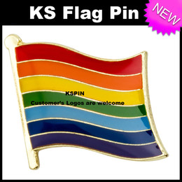 Wholesale Pin Buttons Wholesale - Rainbow Flag Badge Flag Pin 10pcs a lot Free shipping