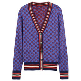 Wholesale Free Vintage Knitting - Free Shipping Vintage Blue Contrast Wool Knitting Women's Cardigans Brand Same Style Gold Line Buttons Women's Sweaters DH319